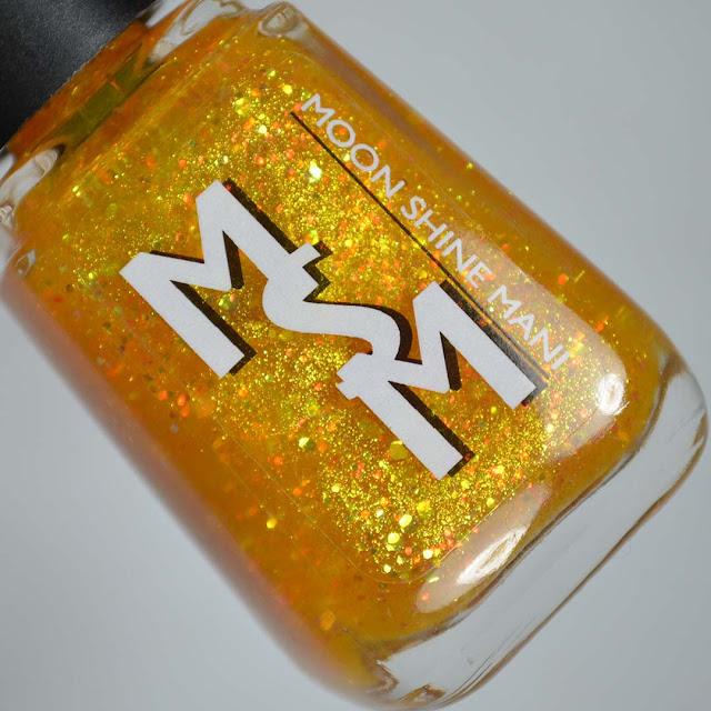 golden glitter jelly nail polish in a bottle