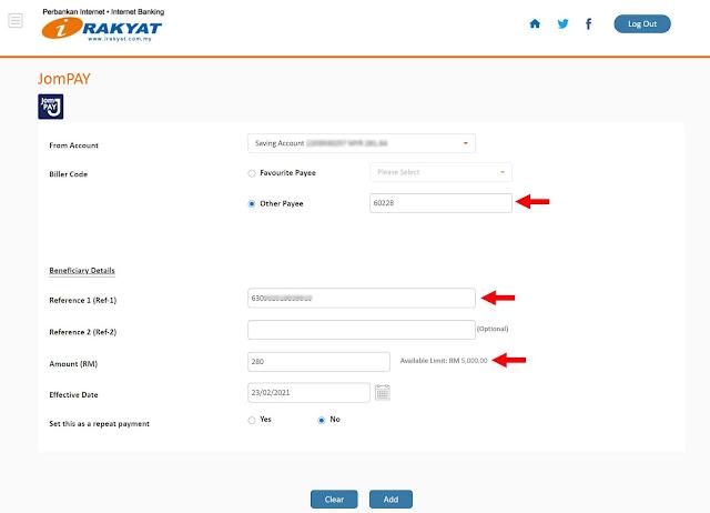 Cara Transfer Duit Ke Tabung Haji Menggunakan JomPay Melalui Bank Rakyat