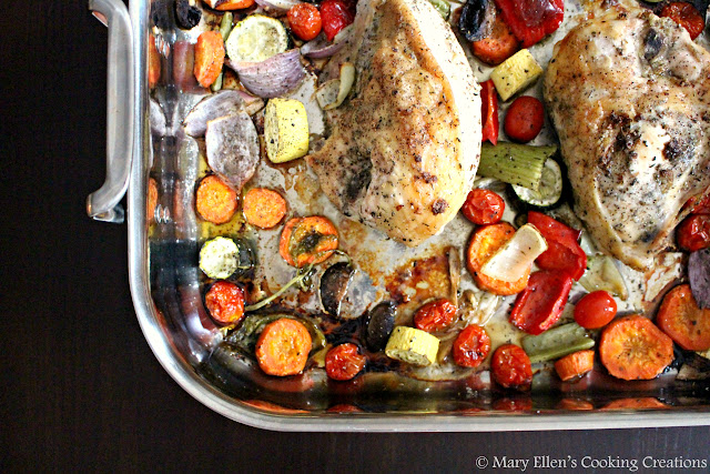 Garlic Herb Roast Chicken Breasts with vegetables. Bone in chicken. Celebrating 10 years of our best recipes.