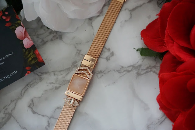 rose gold mesh slider charm bracelet by insider UK boutiq