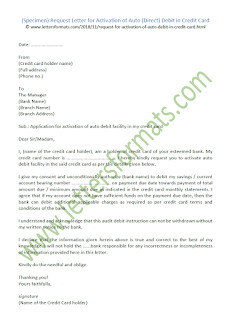 Letter for Activation of Auto Debit in Credit Card
