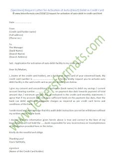 request letter for credit card auto debit