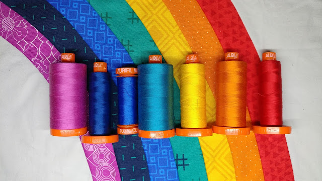 Rainbow of Aurifil threads