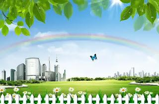plantilla de fondo de paisaje de ciudad ecologica para fotomontajes
