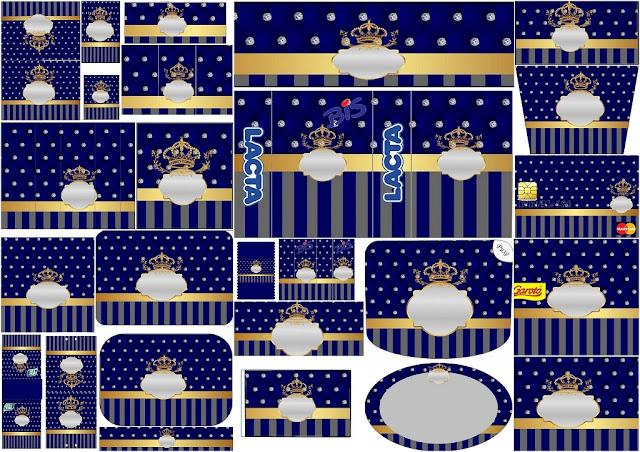 Corona Dorada en Azul y Brillantes: Etiquetas para Candy Buffet de Bodas para Imprimir Gratis.