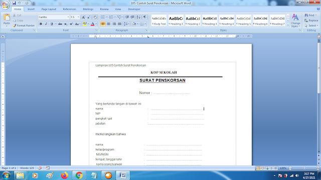 Contoh Format Surat Penskorsan Siswa Terbaru
