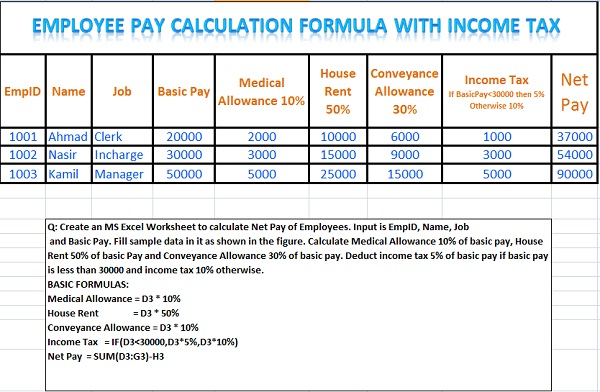 income tax calculation employees formulas excel