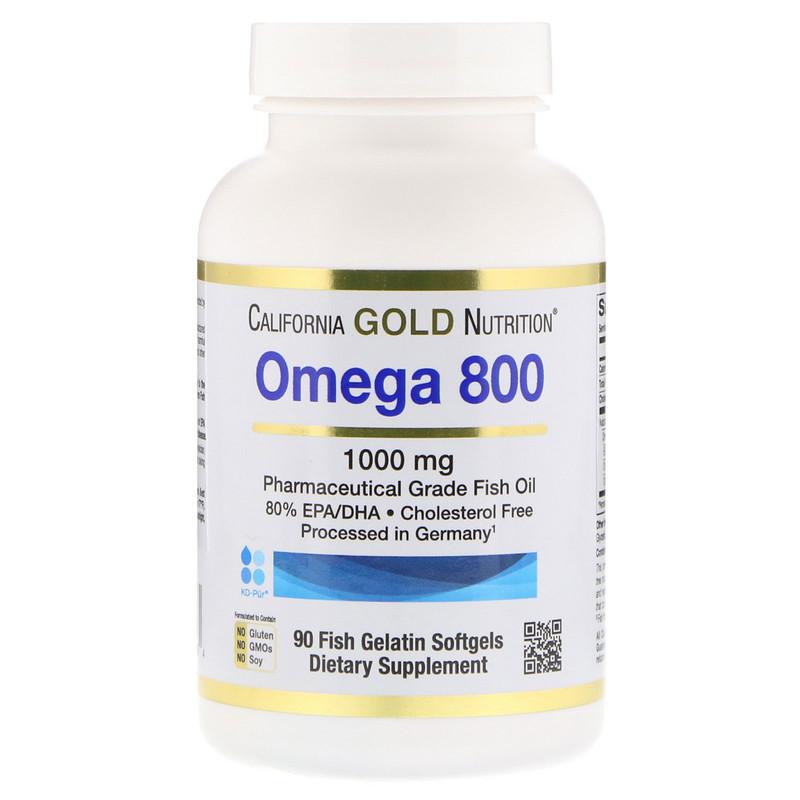 California Gold Nutrition, Омега 800, Рыбий жир фармацевтического класса, 80% EPA / DHA, Триглицеридная форма, Немецкая обработка, Без холестерина, 1000 мг, 90 рыбных желатиновых мягких гелей