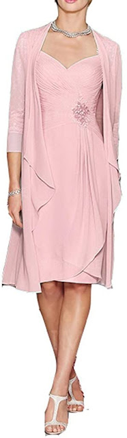 Knee Length Short Pink Mother of The Groom Dresses