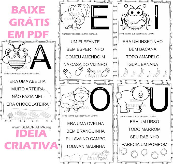 Pequenos textos ilustrados para trabalho com as vogais