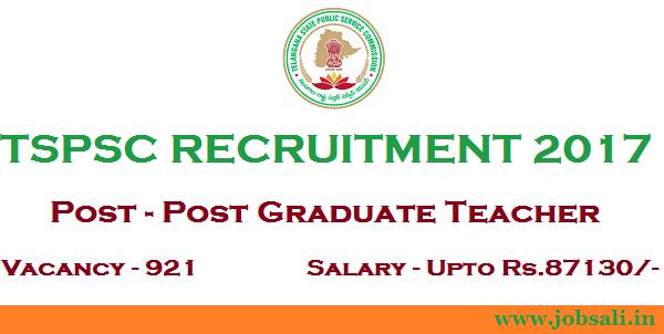 TSPSC Notification 2017, TSPSC Teacher Recruitment, Govt Teaching jobs in Telangana