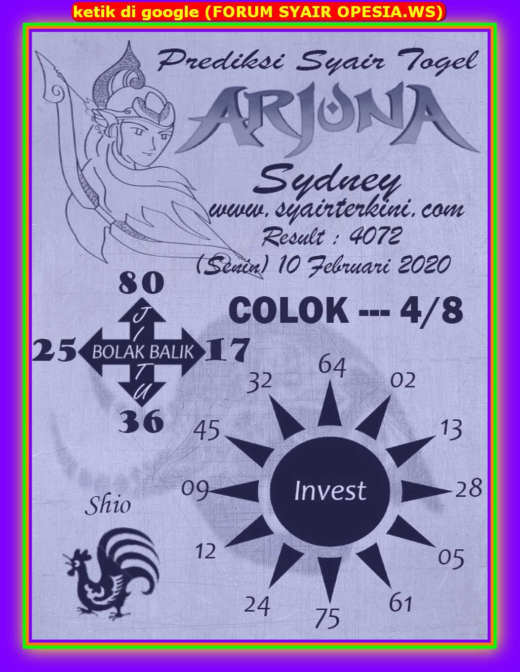 Kode syair Sydney Senin 10 Februari 2020 43