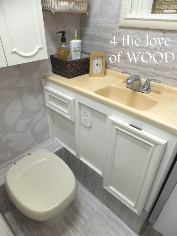 4 The Love Of Wood Rv Bathroom Makeover Reveal Wallpaper Tile Paint