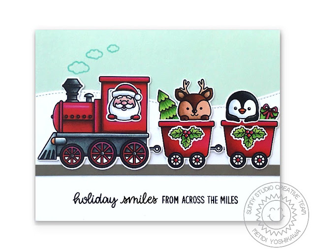 Sunny Studio Holiday Smiles Across The Miles Santa & Reindeer in Christmas Train Card (using Holiday Express Stamps & Slimline Nature Border Dies)