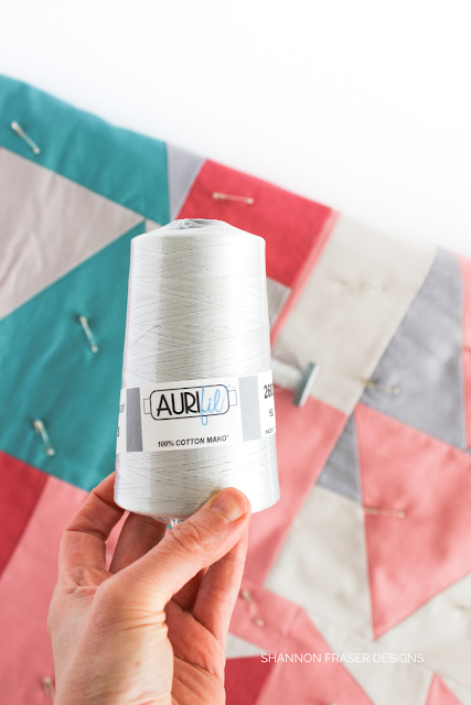 Aurifil Cone in Dove 28wt | Favorite Thread Weight | Shannon Fraser Designs #aurifilthread #cone #quilting #modernimprov