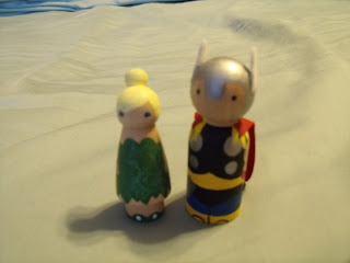 Tinkerbell and Thor custom peg people from Pegged on Etsy