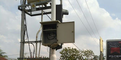 Baterai lampu merah di gasak maling di Palembang.