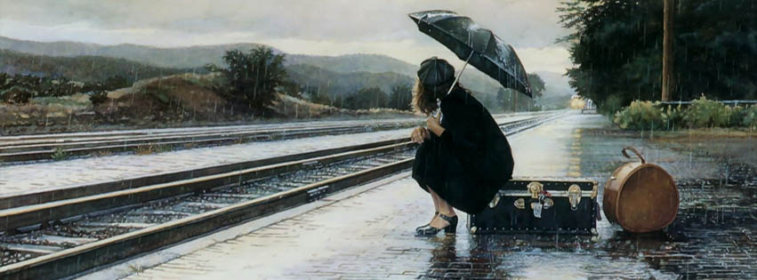 Crying Girl Wallpapers Rain Lonely Girl Waiting For Train Fb Cover Ocean