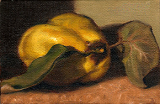 Oil painting of a quince with two leaves attached