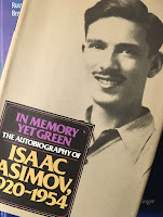 In Memory Yet Green: The Autobiography of Isaac Asimov, superimposed on Intermediate Physics for Medicine and Biology.