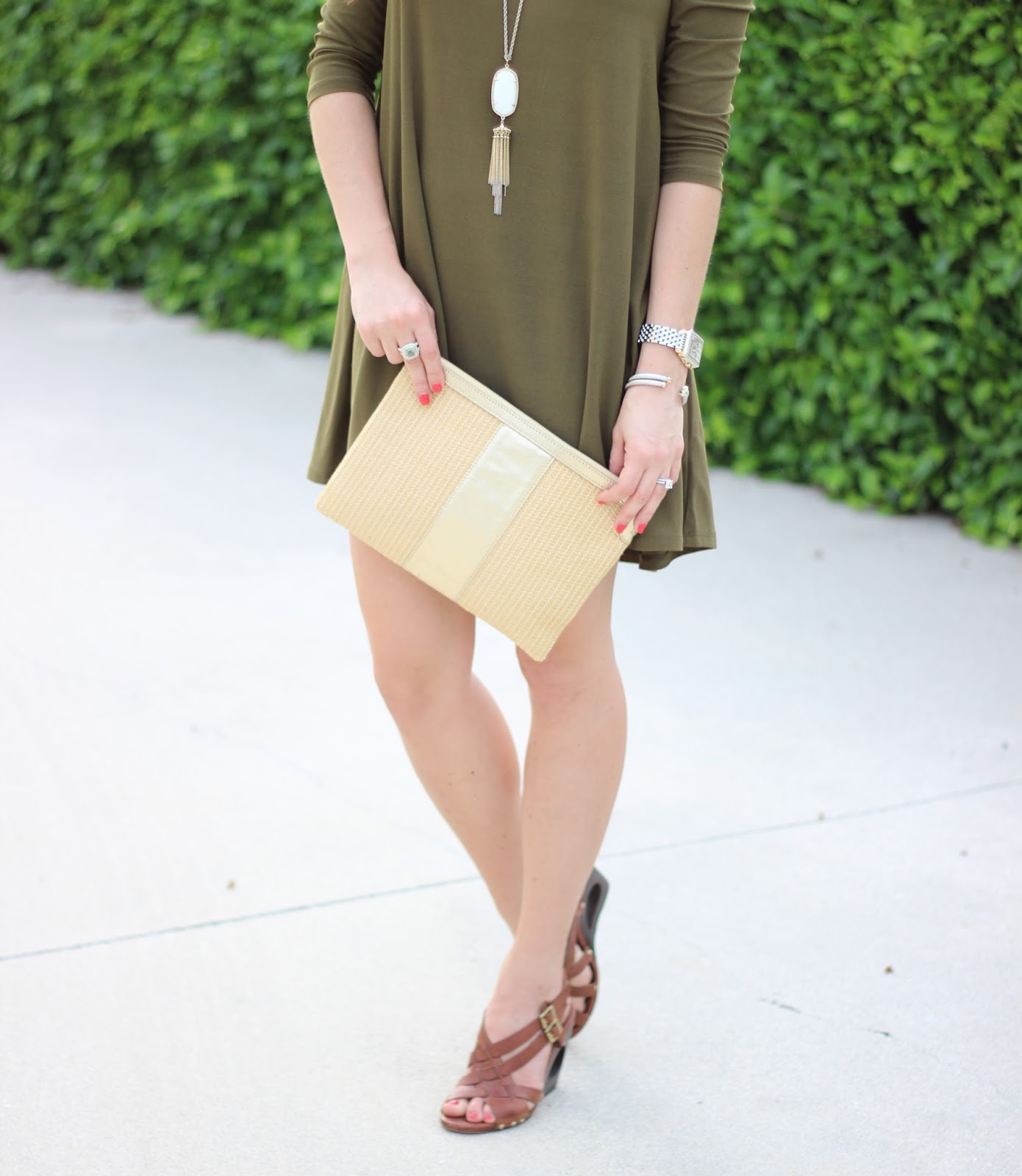 Nordstrom olive swing dress The Sassy Gator blog