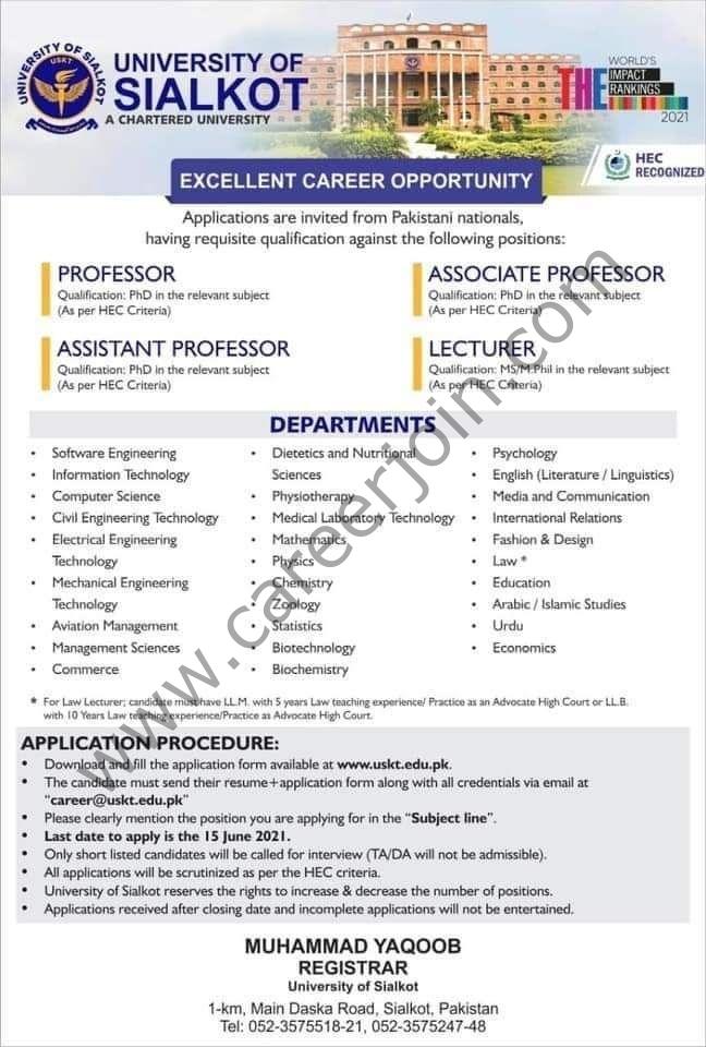 career@uskt.edu.pk - University Of Sialkot Jobs 2021 in Pakistan