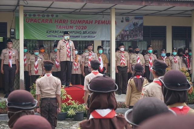 Sulpakar Pimpin Upacara Peringatan Sumpah Pemuda Kwarcab Gerakan Pramuka Lampung Selatan
