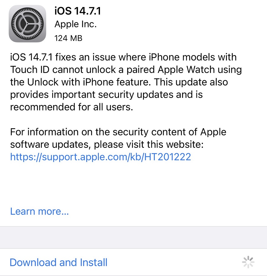 iOS 14.7.1 Features