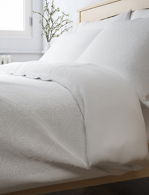 marks and Spencer pure cotton floral matelasse bedding