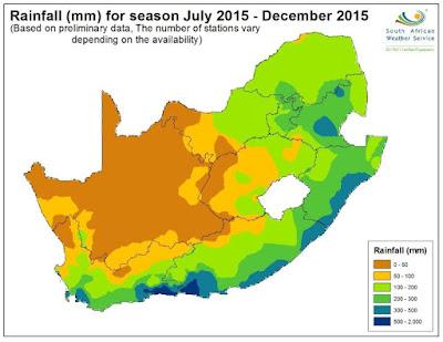 Carte des précipitations en Afrique du Sud, montrant des faibles cumuls généralisé à l'exception de la bande littorale Sud