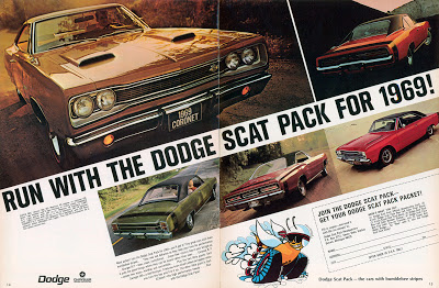 """1969 print ad for Dodge """"Scat Pack"""""""