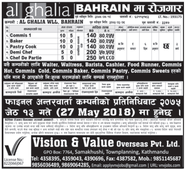 Jobs in Bahrain for Nepali, Salary Rs 71,880
