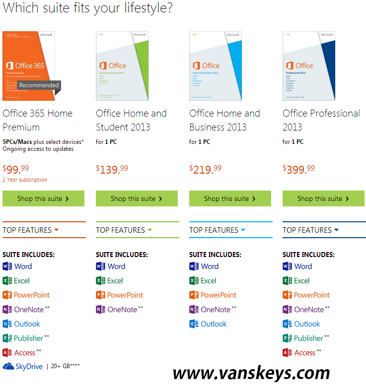 different versions of office 2016