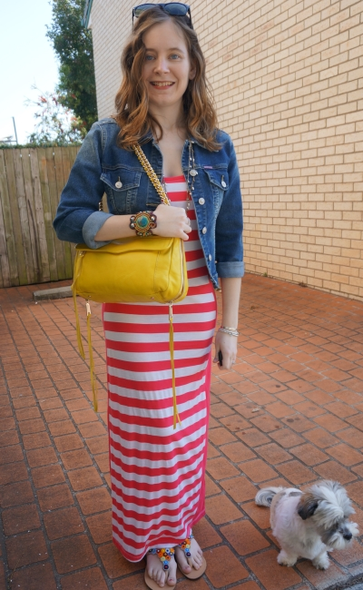 Away From Blue | Spring Maxi Dress outfit Ikwetta sandals denim jacket yellow bag