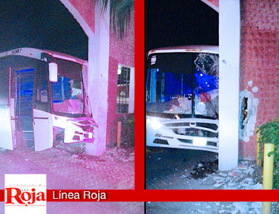 Choca camión de personal en el interior del hotel Bahía Príncipe. Intentaron ocultar este accidente