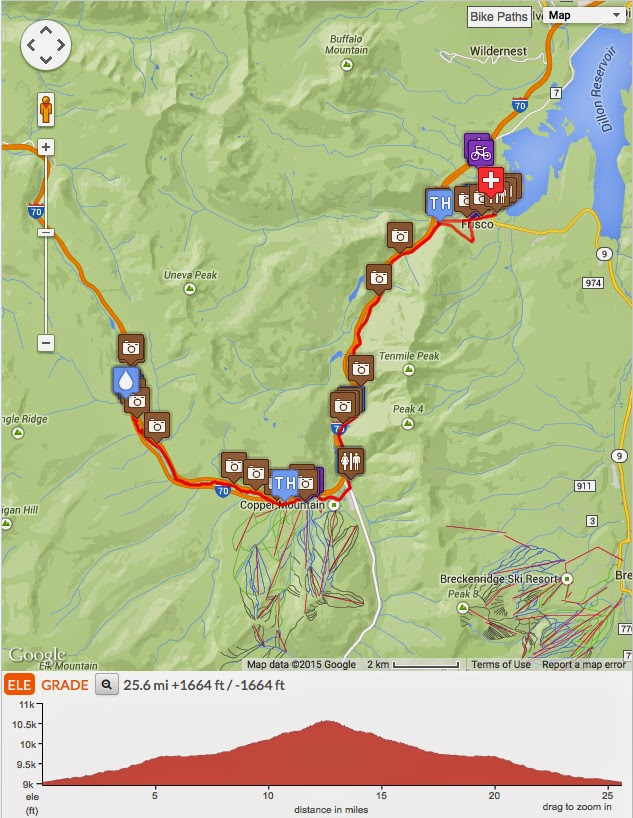 Frisco to Vail Pass bicycling map