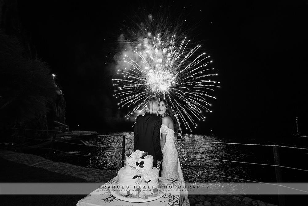 Fireworks during wedding celebration at San Pietro hotel