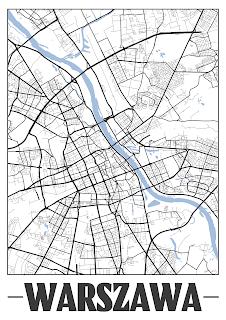 Plakat plan miasta Warszawa