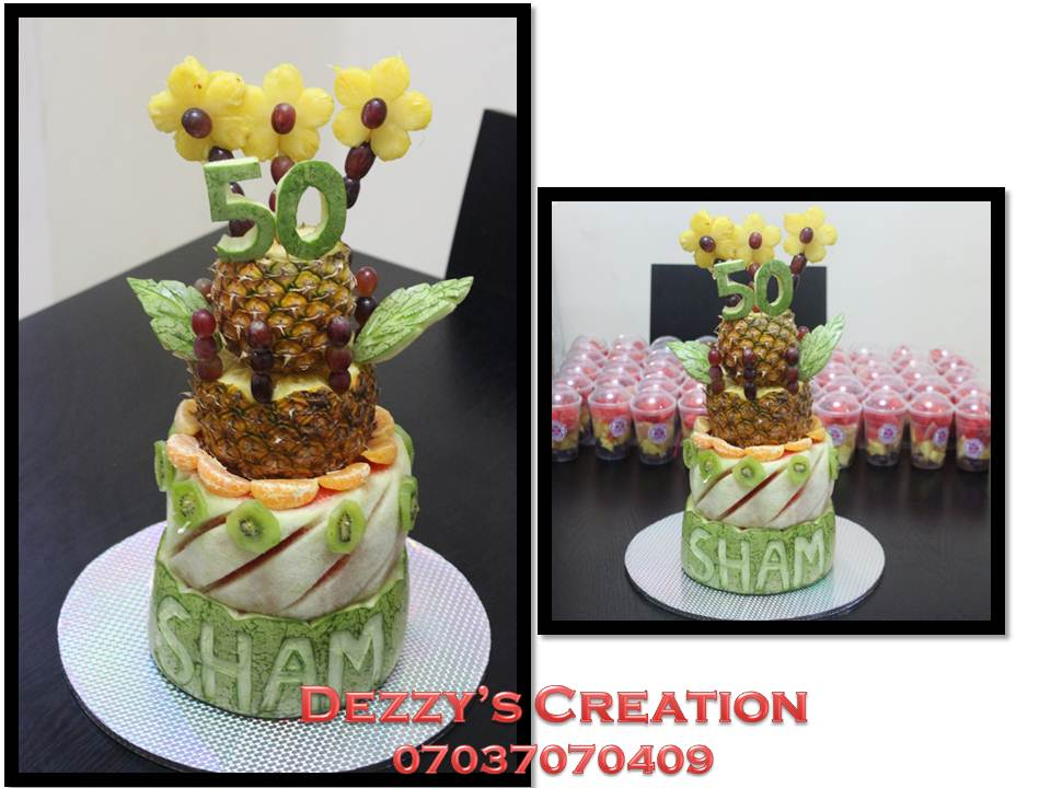Fresh Colourful And Nutritious Birthday Cake Made Solely From Fruit