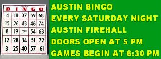 Saturdays--Austin VFD Bingo