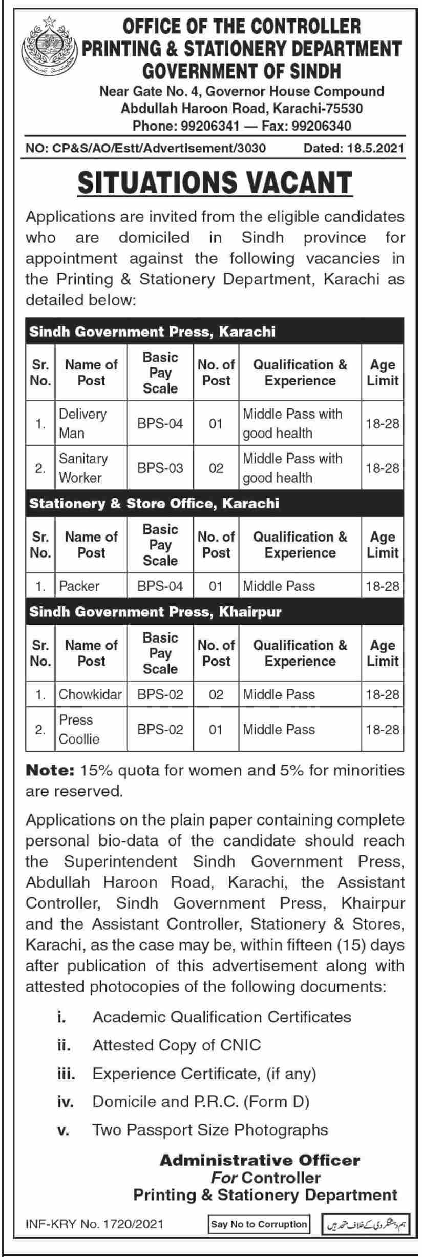 Printing & Stationary Department Sindh Jobs 2021 in Pakistan