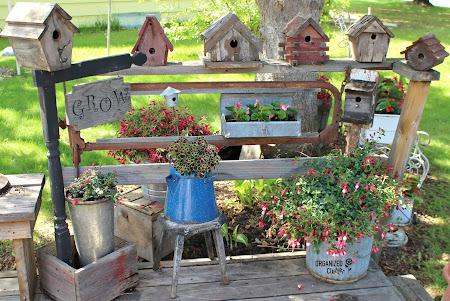 Rustic Birdhouses & the Junk Garden