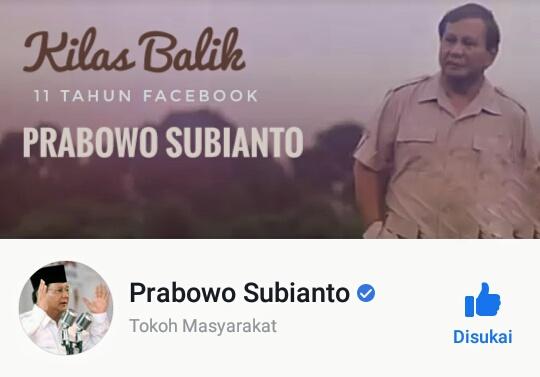 Sejarah dan Kilas balik 11 tahun facebook prabowo subianto