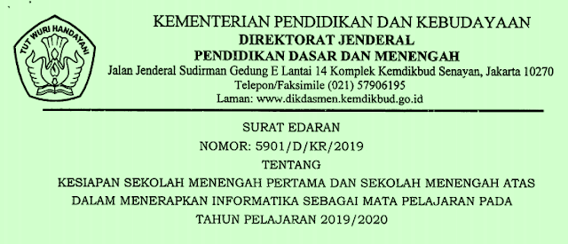 Daftar SMP SMA Pelaksana Mata Pelajaran Informatika Tahun Pelajaran 2019/2020