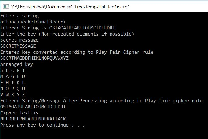 Decryption of Playfair Cipher in C