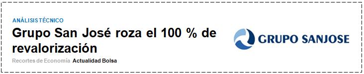 ANALISIS TECNICO GRUPO SAN JOSE por Josep Codina en finanzas.com. 13 Julio 2019.