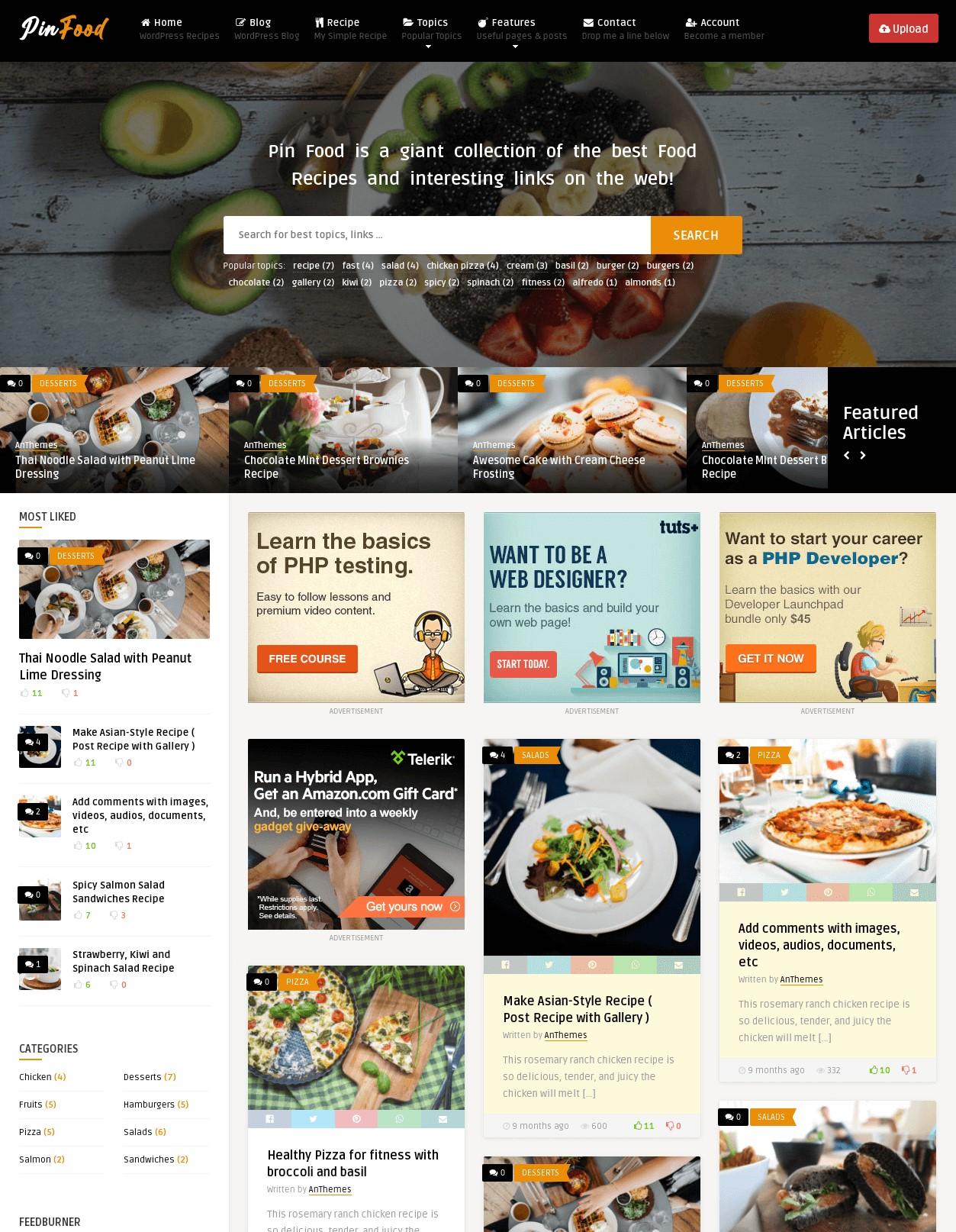 Pin  Pinterest Style  Creative WordPress Theme for Bloggers