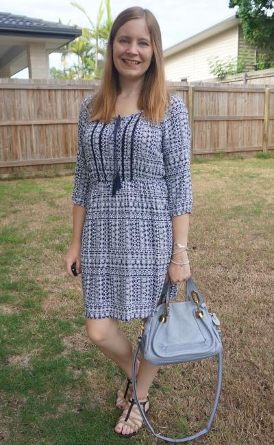 navy tile print boho peasant dress with monochrome bag accessory chloe periwinkle paraty | awayfromblue