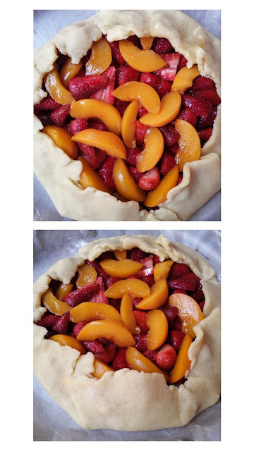 Strawberry and Peach Rustic Galette, food flatlay, flatlay, strawberry galette, peach galette, galette, galette recipe, fruit, strawberries, peaches, dessert, pie, tart, food, food photography, food blogger, food blog, food pictures, food recipe, dessert recipe, pastry, food stylist, spicy fusion kitchen, sweet, fruit tart, fruit galette, fruit pie, rustic galette,