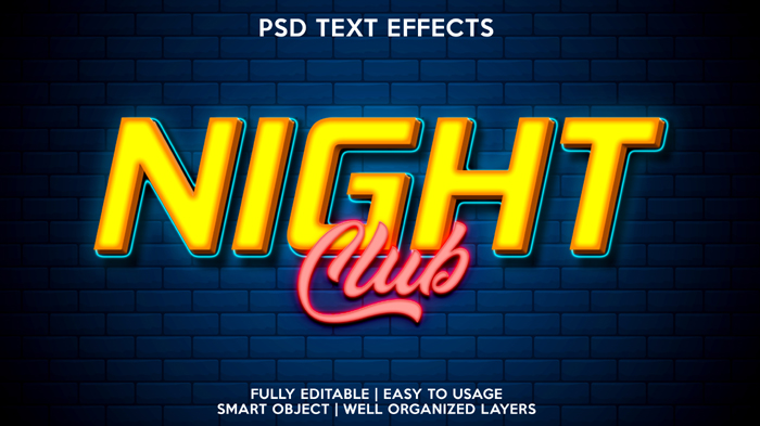 Night Club Text Effect Psd Template